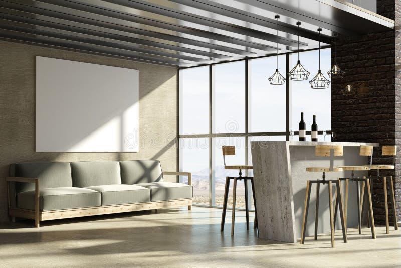 Interior moderno del desván con el cartel vacío libre illustration