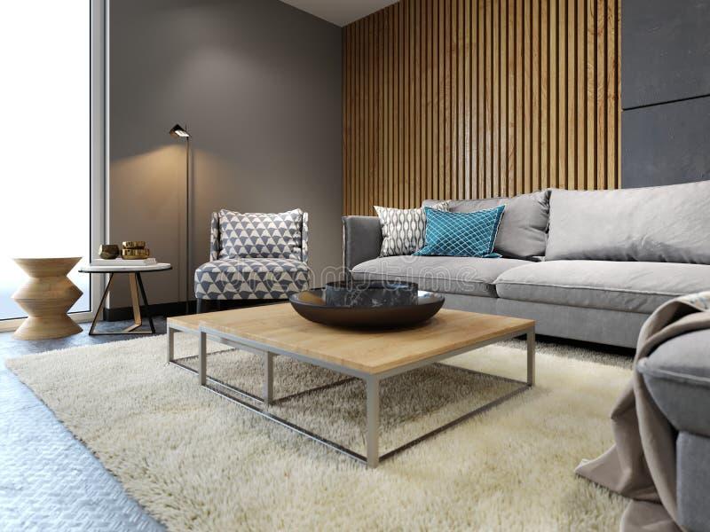 Interior moderno del desván de la sala de estar, del sofá gris y de almohadas coloridas en el suelo del metal y tablones oscuros  libre illustration