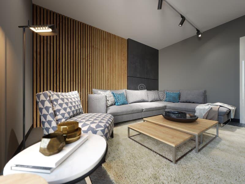 Interior moderno del desván de la sala de estar, del sofá gris y de almohadas coloridas en el suelo del metal y tablones oscuros  stock de ilustración