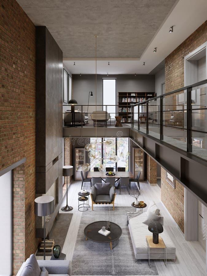 Interior moderno del desván diseñado como apartamento moderno del plan abierto Plan abierto incluyendo la cocina, comedor, sala d libre illustration