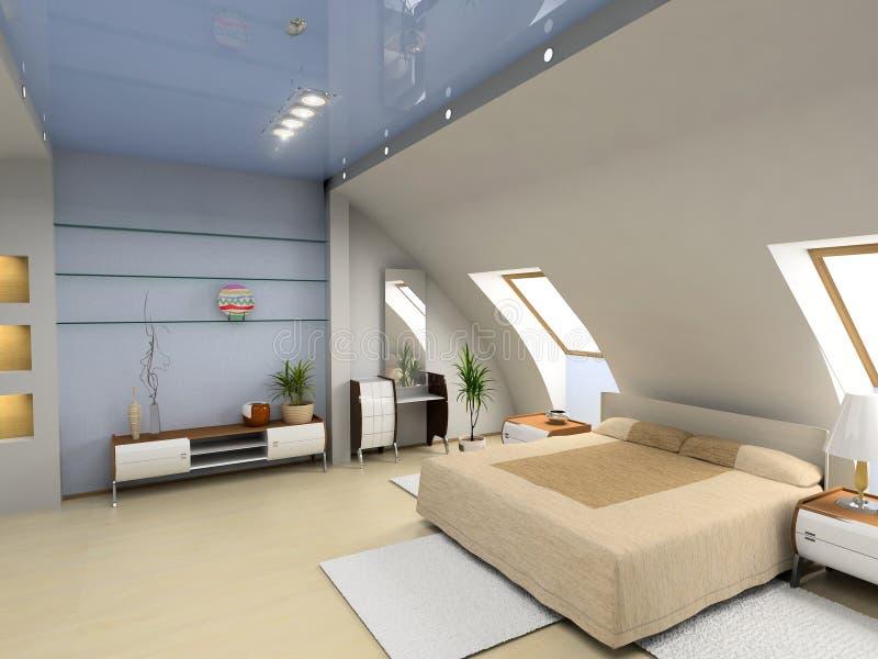 Interior moderno del dormitorio stock de ilustración
