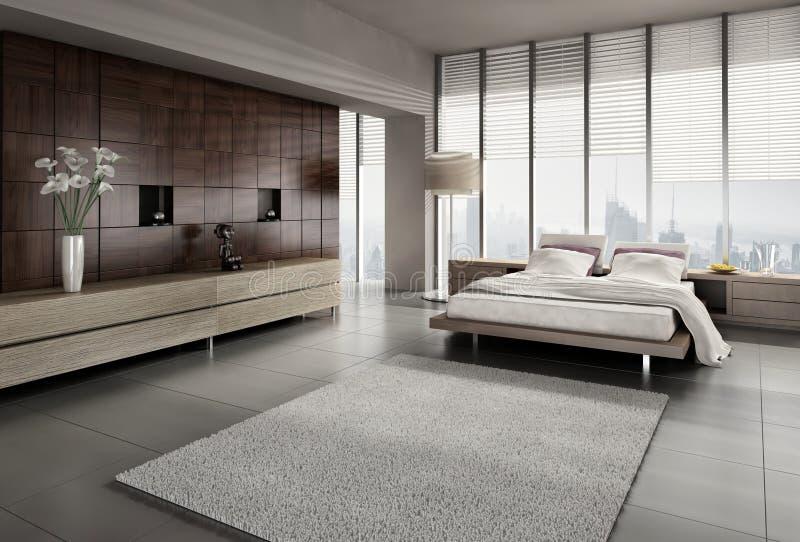Interior moderno del dormitorio imagen de archivo libre de regalías
