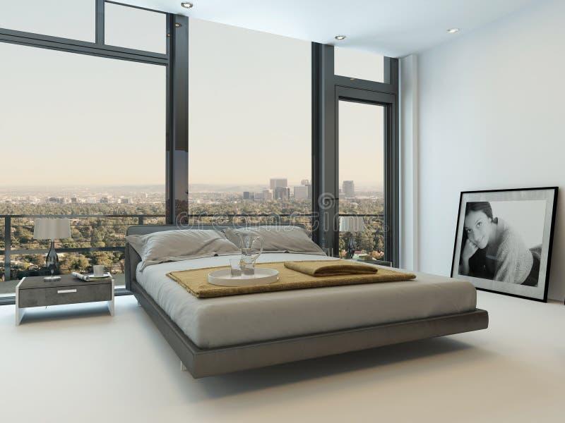 Interior moderno del dormitorio con las ventanas enormes fotos de archivo libres de regalías