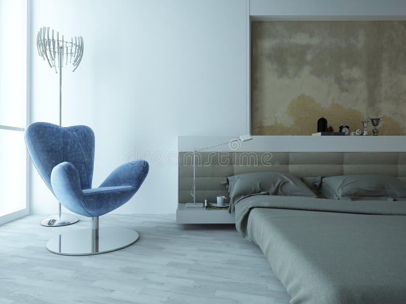 Interior moderno del dormitorio del fábrica-estilo con el muro de cemento ilustración del vector