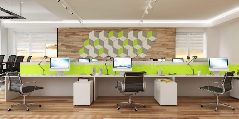 Interior moderno del espacio abierto de la oficina del ordenador representación 3d libre illustration