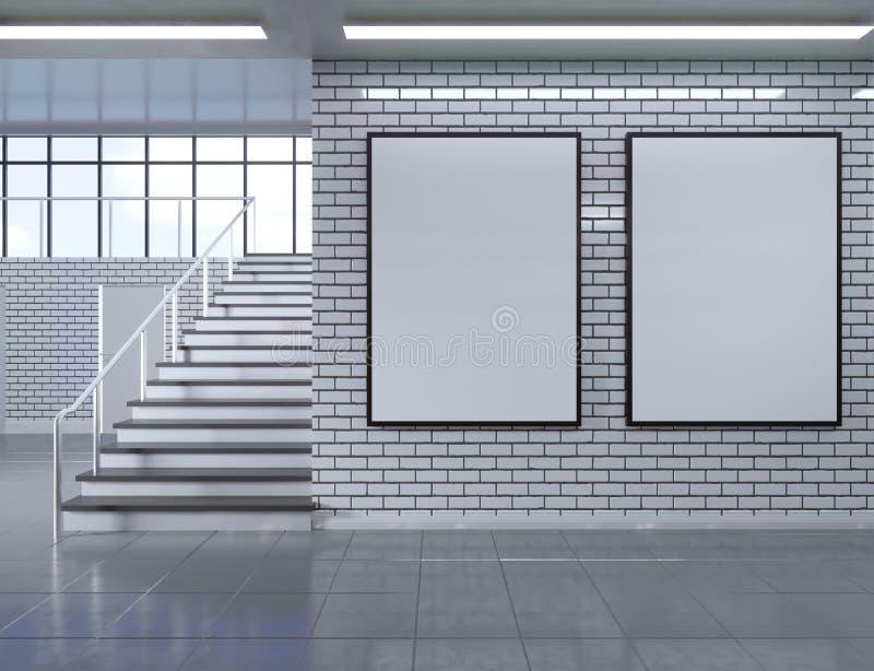 Interior moderno del pasillo de la escuela con el cartel vacío en la pared Mofa para arriba, ejemplo de la representación 3D stock de ilustración