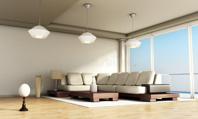 Interior moderno del sitio con las ventanas y el piso de entarimado grandes ilustración 3D ilustración del vector