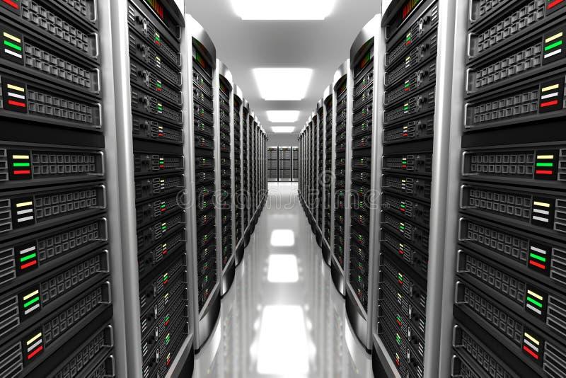Interior moderno del sitio del servidor en datacenter stock de ilustración