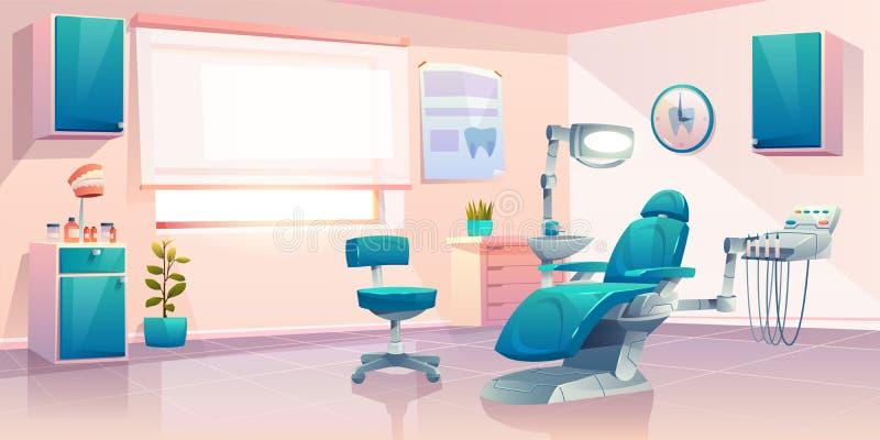 Interior moderno del vector de la historieta de la oficina del dentista stock de ilustración