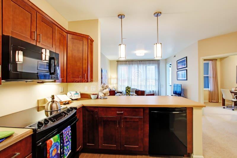 Interior moderno do apartamento Planta de assoalho aberto imagem de stock