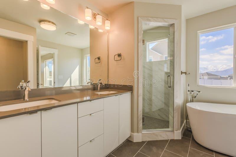 Interior moderno do banheiro com o chuveiro e a banheira de vidro da porta da vaidade do dissipador dobro imagem de stock royalty free