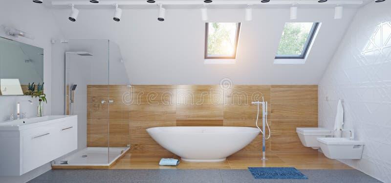Interior moderno do banheiro do sótão ilustração royalty free