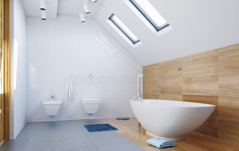 Interior moderno do banheiro do sótão ilustração stock