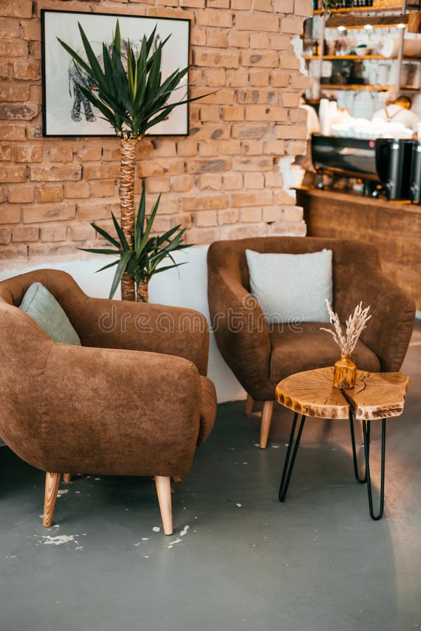 Interior moderno do café fotos de stock royalty free