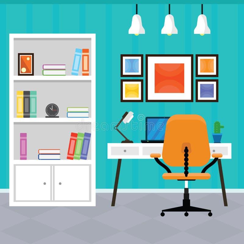 Interior moderno do escritório domiciliário em um projeto liso imagens de stock