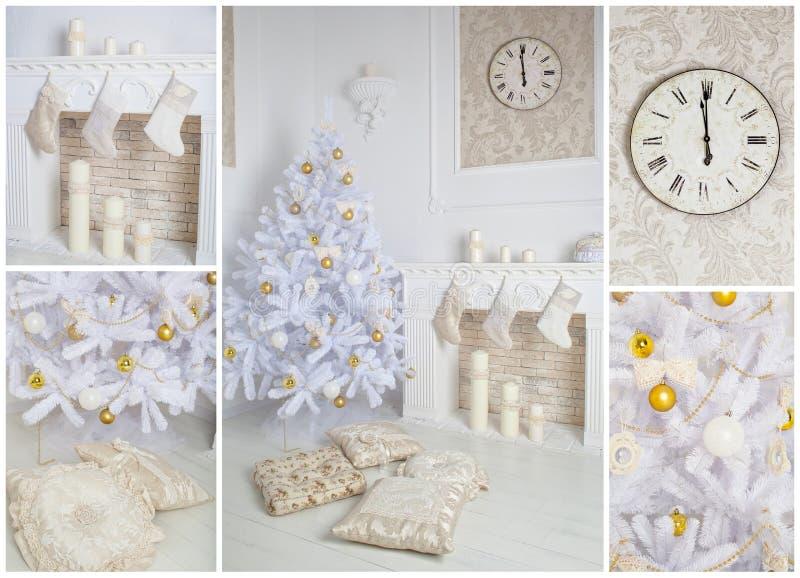 Interior moderno do estilo da chaminé com árvore de Natal e dos presentes no branco fotografia de stock royalty free