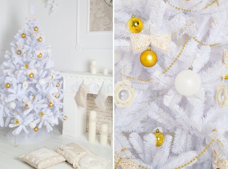 Interior moderno do estilo da chaminé com árvore de Natal e dos presentes no branco fotos de stock