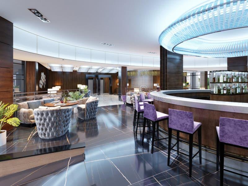 Interior moderno do restaurante acolhedor da barra Projeto contemporâneo em t ilustração do vetor
