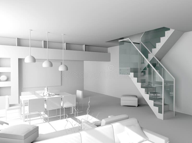 Interior moderno em branco fotografia de stock royalty free