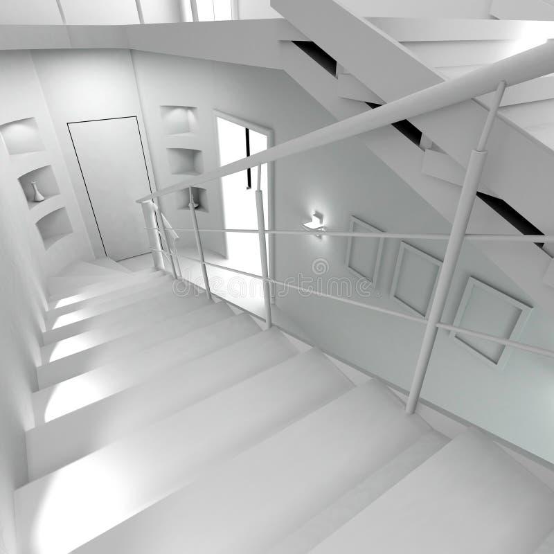 Interior moderno en blanco stock de ilustración
