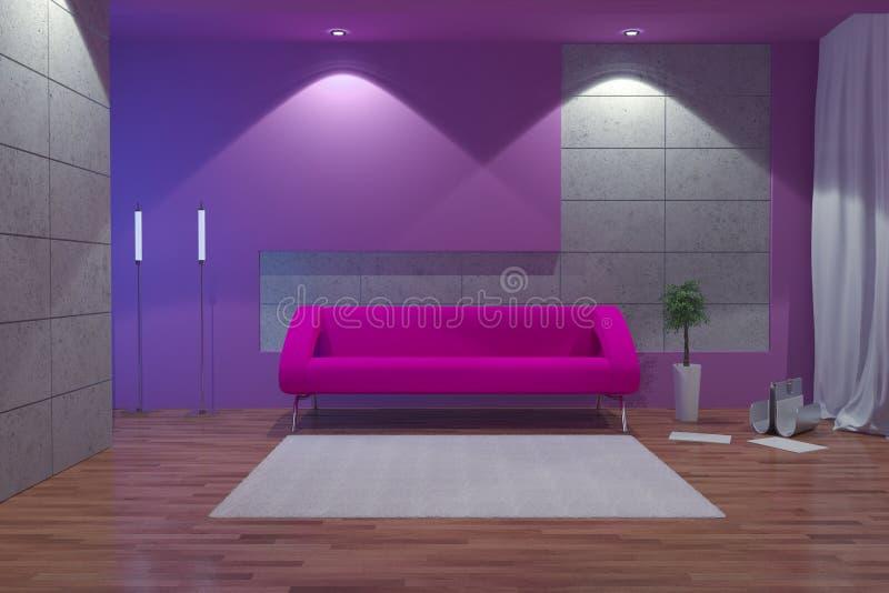 Interior moderno en la noche ilustración del vector