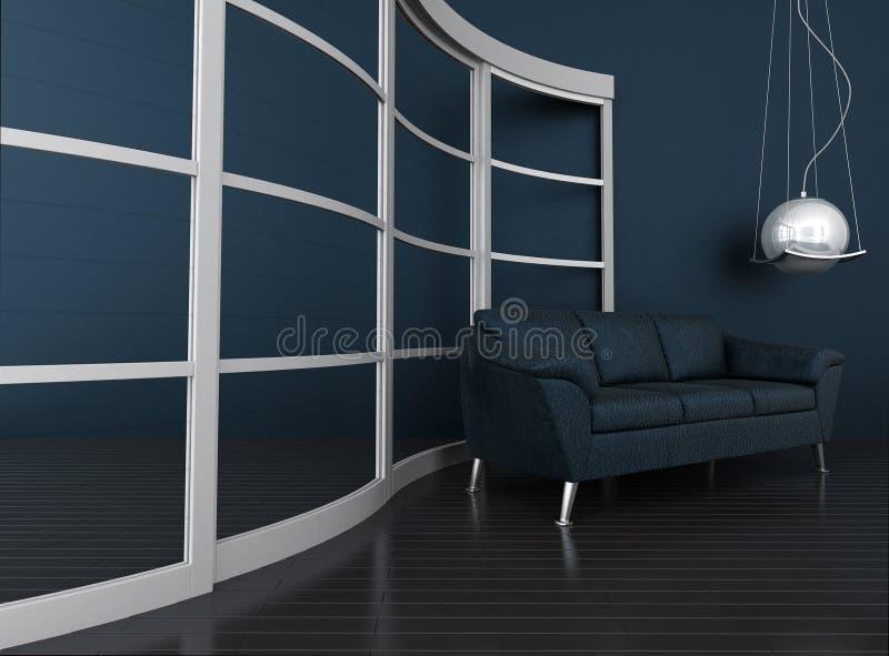 Interior moderno escuro ilustração stock