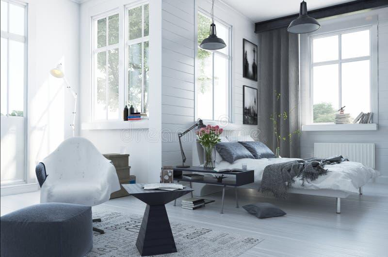 Interior moderno espacioso grande del dormitorio stock de ilustración