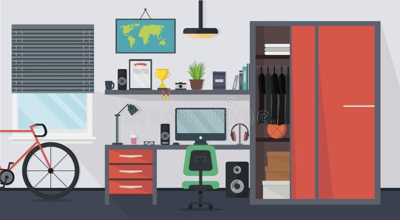 Interior moderno fresco del sitio del adolescente con muebles ilustración del vector