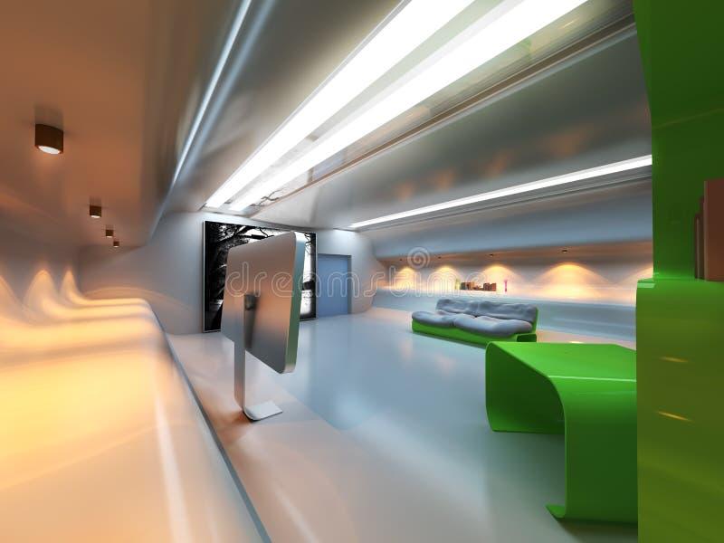 Interior moderno futurista ilustração stock