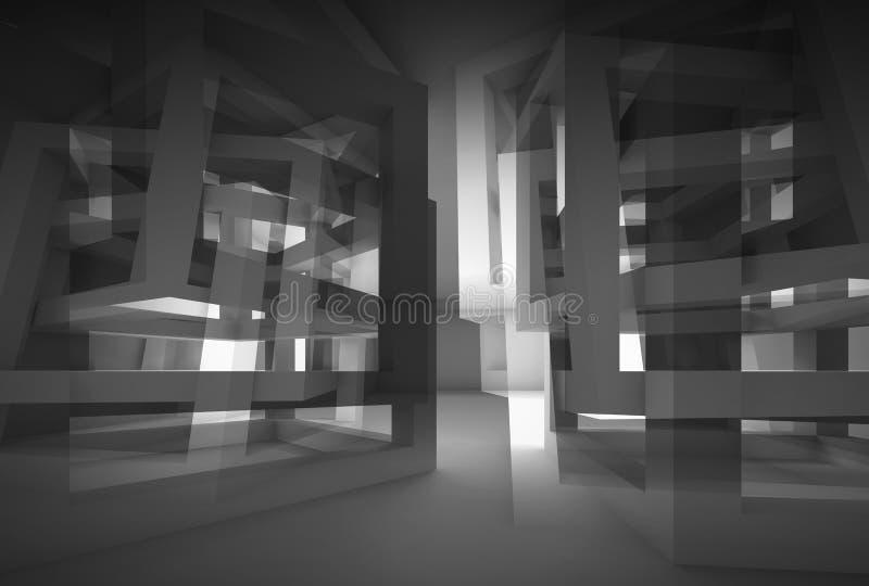 Interior moderno negro abstracto 3d con reflexiones libre illustration