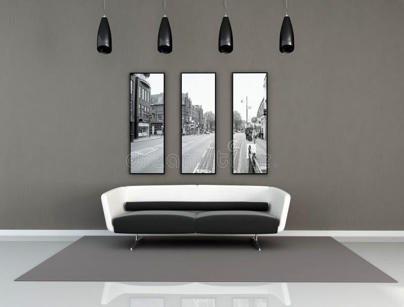 Interior moderno preto e branco