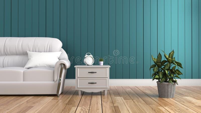Interior moderno - sala de visitas e sofá macio na obscuridade da parede, rendição 3d ilustração stock