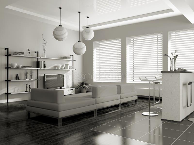 Interior moderno (sepia) ilustración del vector