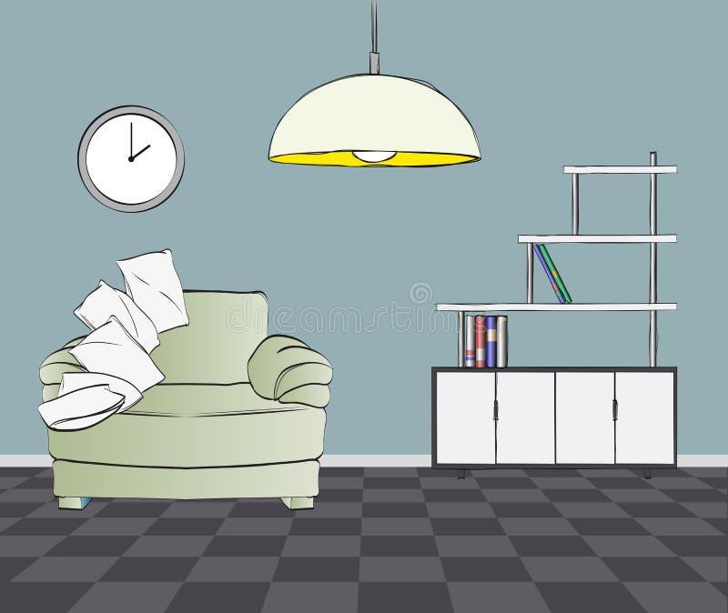 Interior moderno Sofá, com coxins ilustração do vetor