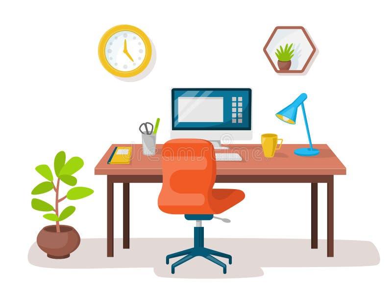 Interior moderno vacío de la oficina del lugar de trabajo Imagen del vector stock de ilustración