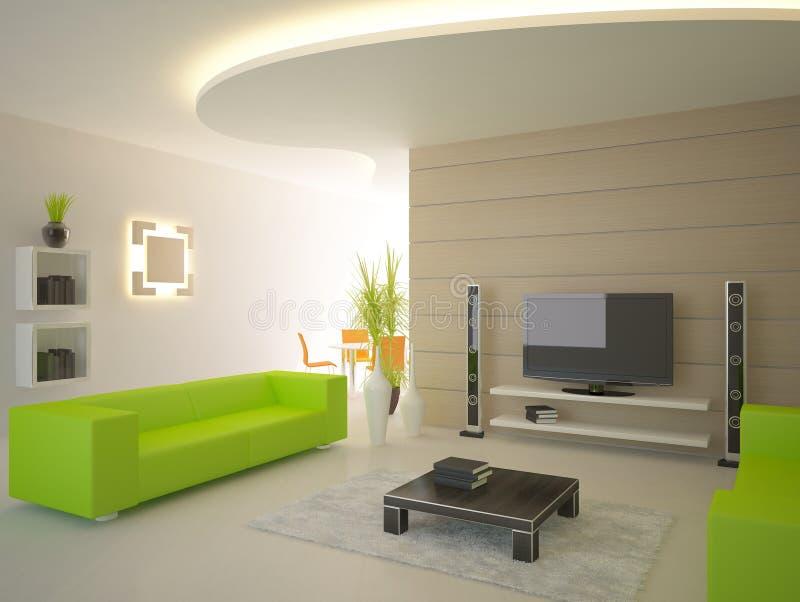 Interior moderno verde stock de ilustración