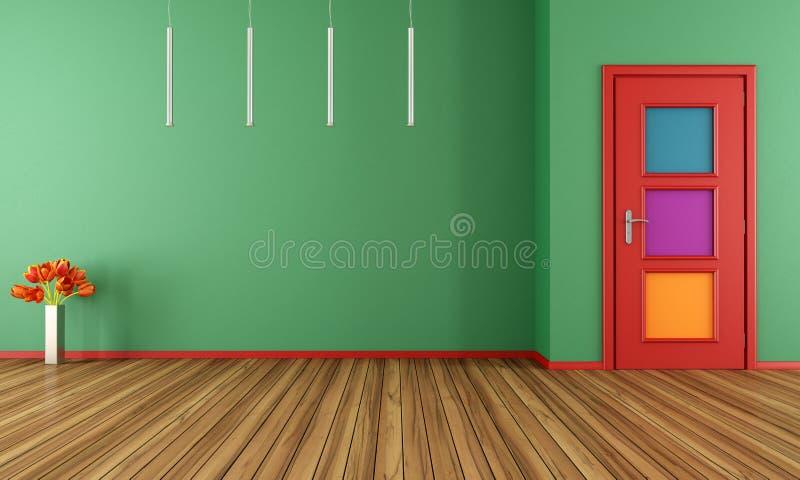 Interior moderno verde vazio com porta ilustração royalty free