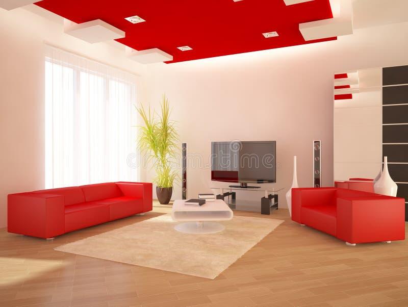 Interior moderno vermelho ilustração stock