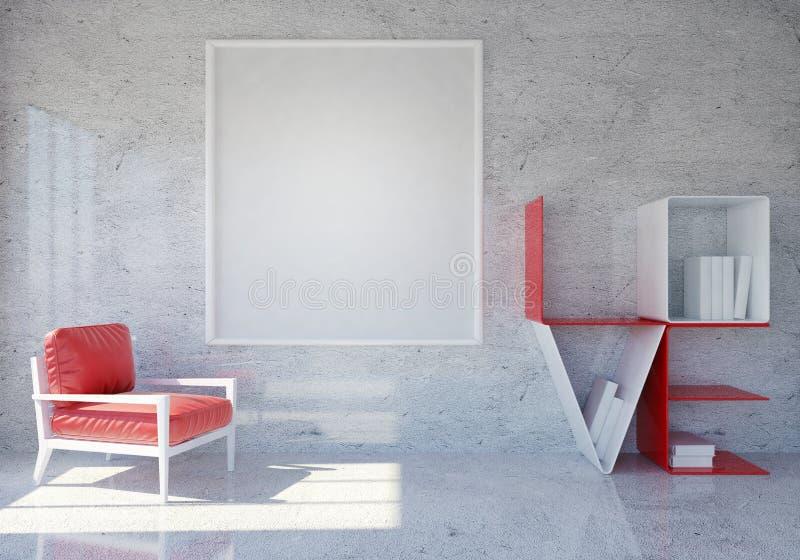 Interior moderno y del desván del sitio con el estante de librería del amor de la palabra y marco en blanco de la foto para el dí fotos de archivo