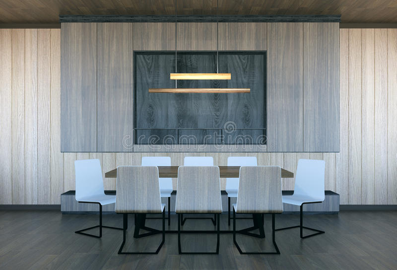 Interior moderno y mínimo de la sala de reunión fotos de archivo libres de regalías