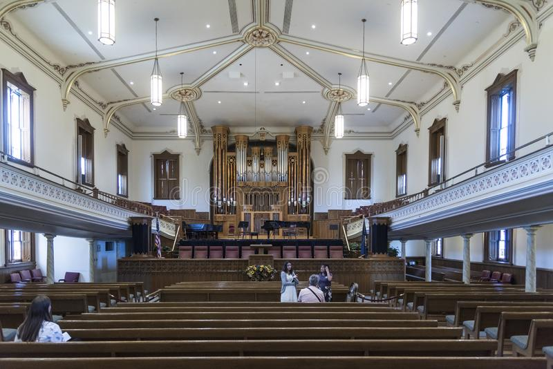 Interior Mormon Assembly Hall Temple Square Salt Lake City stock image