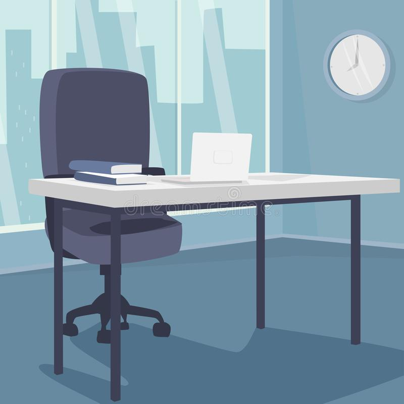Interior of morning workplace with view of city. Office in metropolis. White laptop on desk, next to armchair. Three quarter view. Simplistic realistic comic vector illustration