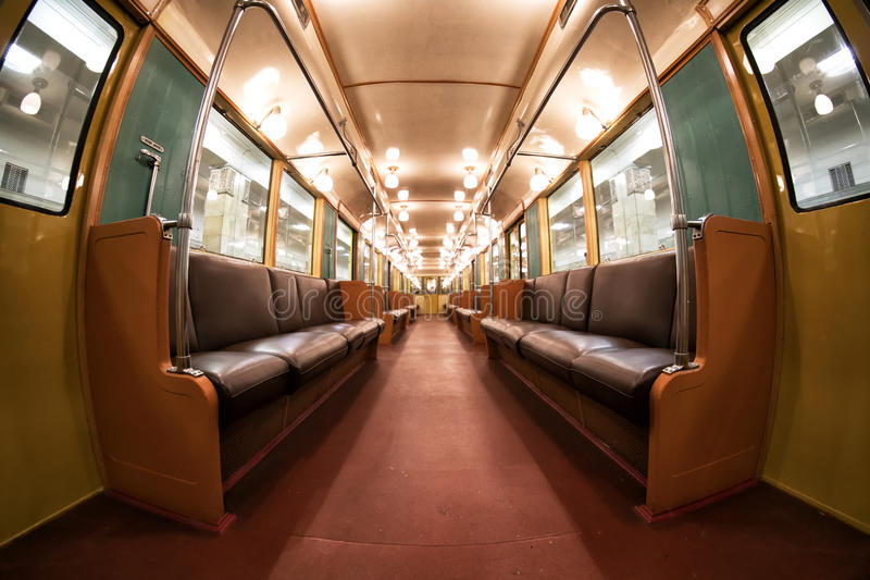 The interior of Moscow`s subway retro train of 1934. June 10, 2017. Moscow. Russia. The interior of Moscow`s subway retro train of 1934. Moscow. Russia. June 10 royalty free stock photos