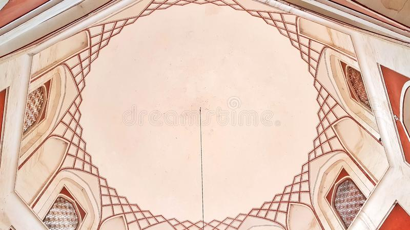 Interior of the Mughal Emperor Humayun`s tomb. The tomb was commissioned by his wife Bega Begum in 1569-70. Many Mughal rulers lie buried here royalty free stock image