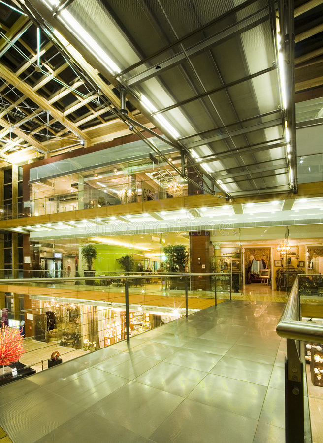 Interior of a multe-level mall stock images