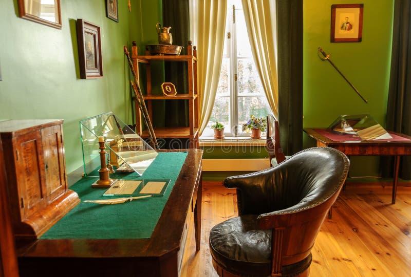 The interior of the museum-estate Trigorskoye stock photos
