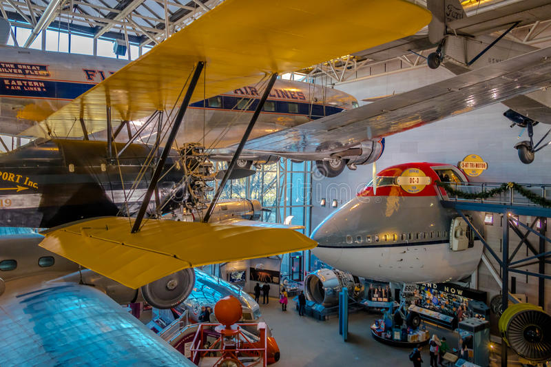 Interior of The National Air and Space Museum of the Smithsonian Institution - Washington, D.C., USA royalty free stock photo