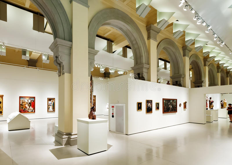 Interior of National Art Museum of Catalonia royalty free stock photography