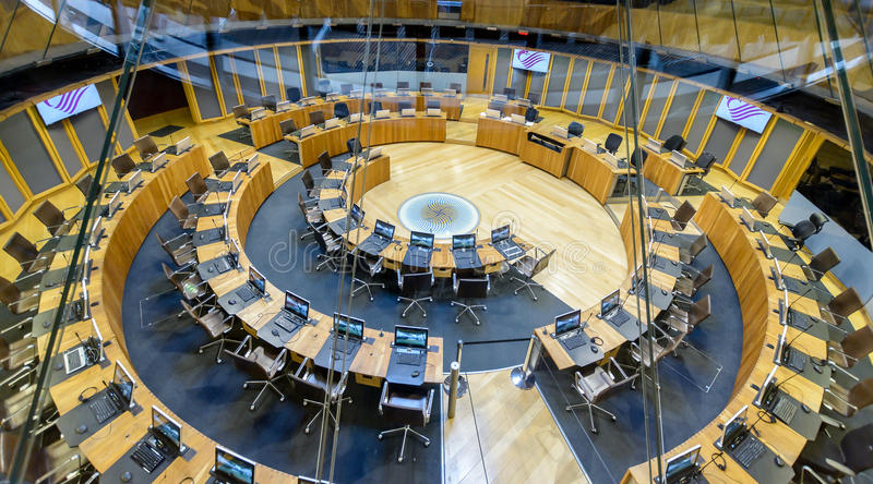 Interior of National Assembly for Wales D stock photos