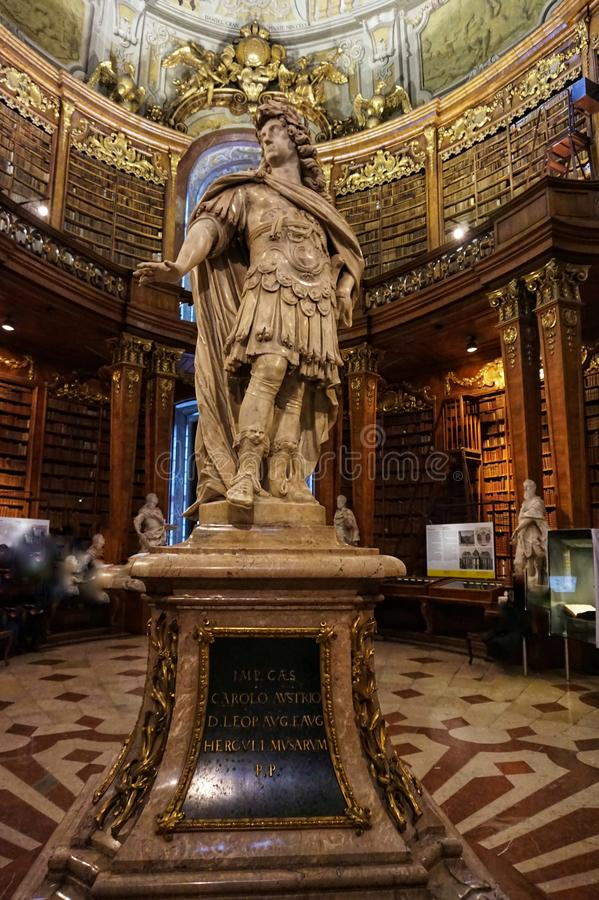 The interior of the National Austrian Library in the Hofburg Palace stock image